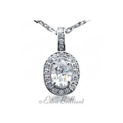 1.40 CTW DSI1 Oval Shape Natural Certified Diamonds 18k White Gold Halo Pendant