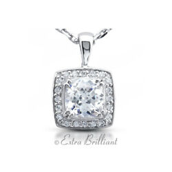 2.59ct G SI1 Cushion Earth Mined Certified Diamonds 18k White Gold Halo Pendant