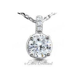 2.61ct FSI1 Round Cut Natural Certified Diamonds 14k White Gold Classic Pendant