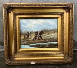 """#23 Beautiful 14""""x16"""" Framed Hand Oil Antique Style Painting African Elephant $150.00"""