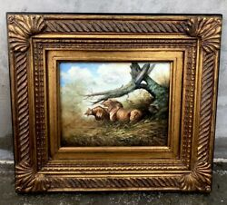 """#24 Beautiful 15.5""""x17.5"""" Framed Oil Antique Style Painting Of African Lion Rare $175.00"""