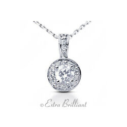 1.91 Carat DVS1 Round Cut Earth Mined Certified Diamonds Platinum Halo Pendant
