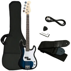 New sealed in box Full Size 4 String Electric Bass Guitar w Strap Bag Blue