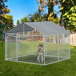 PawHut 7.5#x27;x7.5 Large Outdoor Dog Kennel Galvanized Steel Fence with Roof and $265.99