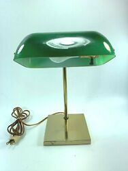 Vintage Bankers Lamp Green Shade Square Brass Base 32007 $45.60