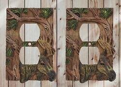 Rustic Western Pine Stag Elk Moose Double Receptacle Outlet Plate Cover Set of 2 $23.99
