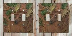 Rustic Western Pine Stag Elk Moose Double Toggle Switch Plate Cover Set Of 2 $26.99