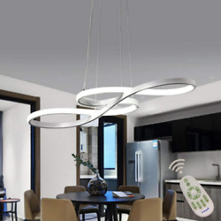 Modern LED Chandelier Dimmable Remote Control Pendant Lights Dining Room White $115.68