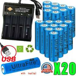 20X UltraFire 18650 9900mAh Battery 3.7V Li-ion Rechargeable Batteries +Charger