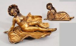 Antique JB Jennings Brothers Gilt Bronzed Spelter Peak-A-Boo Naughty Lady