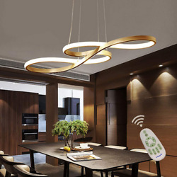 Modern LED Chandelier Dimmable Remote Control Pendant Lights Dining Room Gold $115.48