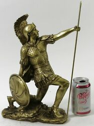 Greek Hero Ajax The Great Holding Spear and Shield Bronze Finish Statue Figurin