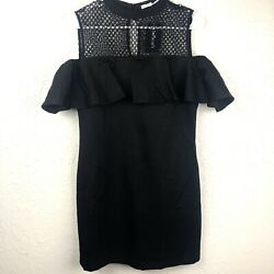 After Market Womens Dress Large Black Cold Shoulder Ruffle Net LBD NWT