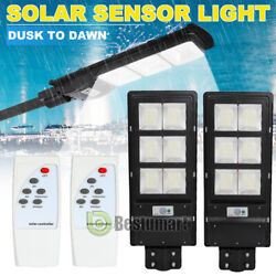 2Packs Outdoor Commercial LED Solar Street Light IP67 Radar Sensor 100000LM 90W