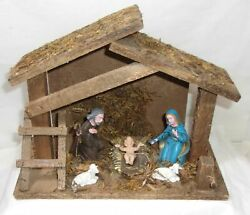 VINTAGE NATIVITY SCENE WITH PLASTIC FIGURES & WOODEN STABLE - MADE IN ITALY