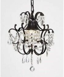 Wrought Iron Crystal Chandelier Chandeliers Lighting Mini H.14quot; x W.11quot; 1 Light $105.99