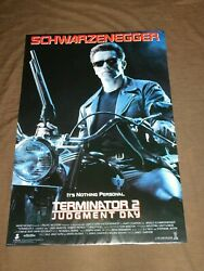 VINTAGE 40 X 27 1991 TERMINATOR 2 JUDGEMENT DAY  SCHWARZENEGGER  MOVIE POSTER