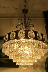 Antique Vintage French Basket Style Crystal Chandelier Luster Light 1940's.19 in
