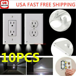 10X Duplex Outlet Wall Plate Led Night Lights Cover w Ambient Light Sensor Safe