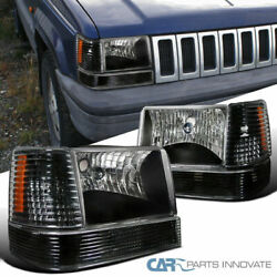 For 93-96 Jeep Grand Cherokee SUV Black Headlights w Bumper Corner Lamps Pair $89.95