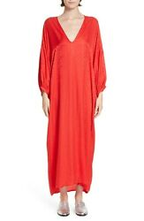 ROSEANNA Rouge Red Season Jacquard V-Neck Long Sleeve Midi Caftan Dress 38 6 SM