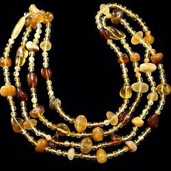 """Long 64"""" Natural Baltic Necklace with Multicolor Amber Beds. Christmas Gift."""