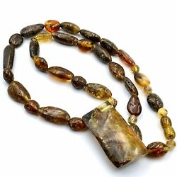 """Baltic Green Amber Nugget Beads Necklace with a Large Baltic Amber Pendant 215"""""""
