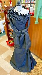 Jovani Taffeta 151035 Ruffled One Shoulder Black Ball Evening Gown Sz. 4