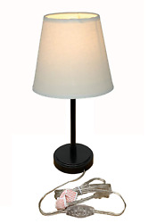 Table Lamp Bedside Desk Lamp Cone Fabric Shade Retro Nightstand Lamp