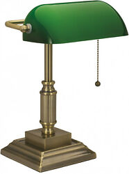 Vintage Bankers Desk Lamp W Green Glass Shade Student Antique Piano Table Light $46.29