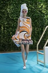 BNWT EMILIO PUCCI RESORT FRINGE BEACH PRINT EMBELLISHED BEADED DRESS £2900 38