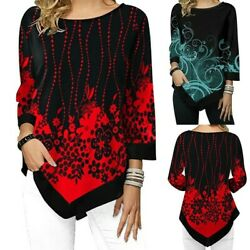 Women Floral Print Loose Irregular Blouse Long Sleeve T-Shirt Tops Ladies $11.99
