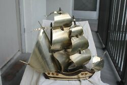 FRENCH ART DECO c1920's MAISON BAGUES ALUMINUM SAILS WOOD FRAMED SHIP DESK LAMP