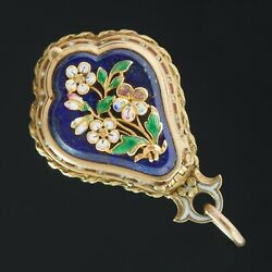 GENUINE VICTORIAN LAPIS LAZULI AND POLICHROME ENAMEL FLOWER VINAIGRETTE PENDANT