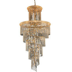 ASFOUR CRYSTAL CHANDELIER LARGE GOLD QUALITY SPIRAL FOYER ENTRYWAY 41 LIGHT 96
