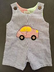 Boys 9 months Boutique Cachcach Car Romper Outfit NEW NWT Cach Cach Seersucker $14.99