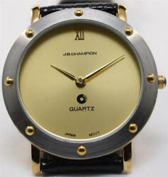 NOS 33mm Mens JB Champion Two Tone SERVICED Watch Gold Dial Lizard Calf Strap $19.99