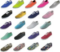 Womens Girls Canvas Plimsoll Shoes Sneakers lace Up Sizes 5 11 15 Colors $13.99
