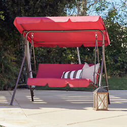 3 Person Patio Swing Canopy Awning Hammock Steel Burgundy $99.99