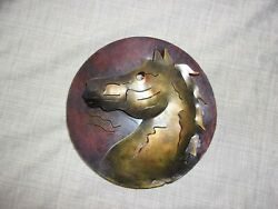 Horse Hand Made Wall Art Metal Sculpture Cut Out Mexico 8.5quot; Round Hecho en $10.00