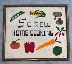 HANDMADE SCREW HOME COOKING Needlepoint Framed Kitchen Unknown $8.39