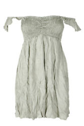 Raviya Sage Green Off-The-Shoulder Smocked Ruffled Mini Dress Cover-Up S $6.22