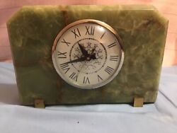 Vintage Lanshire Electric Mantle Shelf Desk Clock 1940's-50's Swirled Marble VGC