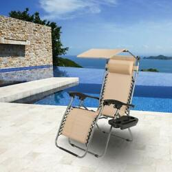 Zero Gravity Folding Patio Lounge Chairs w/ Canopy Cup Hold Reclining Sunshade $64.90