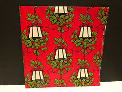 Vintage Christmas Wrapping Paper Gift Wrap quot;Lanterns Lamps amp; Holly Berryquot; $8.98