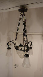 "Beautiful Antique signed ""DEGUE"" Art Deco French chandelier"