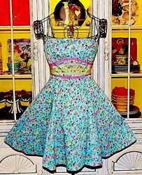 Betsey Johnson Dress FLORAL Blue RUNWAY Strapless FIT FLARE Swing Tea Party 2 S