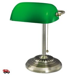 Green Shade Banker Glass Desk Lamp Vintage Piano Brass Table Library Antique NEW $54.99
