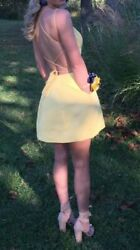 Sherri Hill Short Cocktail Party Dress Yellow Size 4 Pockets Style 52154 $138.00