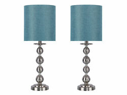 23.5quot; Brushed Nickel Table Lamp Set of 2 W Turquoise Drum Shades $84.99